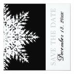 "Snowflake black white winter wedding Save the Date 5.25"" Square Invitation Card"