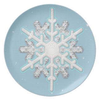 snowflake blizzard melamine plate
