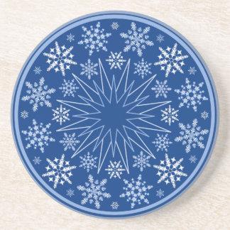 Snowflake Blizzard on Blue Sandstone Coaster