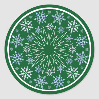 Snowflake Blizzard on Green Classic Round Sticker