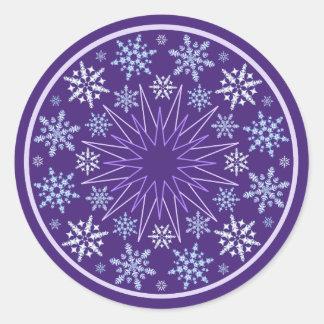 Snowflake Blizzard on Purple Classic Round Sticker