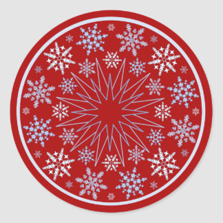 Snowflake Blizzard on Red Classic Round Sticker