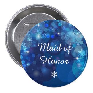 Snowflake Blue Bokeh Winter Bridal Party Button