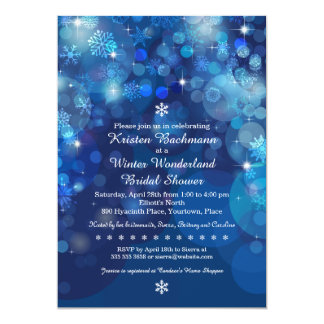 Snowflake Blue Bokeh Winter Bridal Shower Card