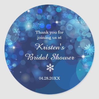 Snowflake Blue Bokeh Winter Bridal Shower Thanks Classic Round Sticker