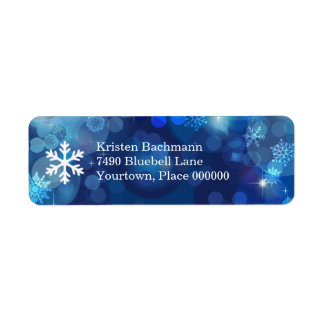 Snowflake Blue Bokeh Winter Label