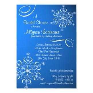 "Snowflake Blue Bridal Shower 5"" X 7"" Invitation Card"
