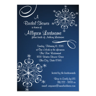 Snowflake Blue Bridal Shower 5x7 Paper Invitation Card