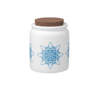 Snowflake Blue Candy Dish