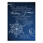 Snowflake Blue Elegance Winter Wedding 5x7 Paper Invitation Card