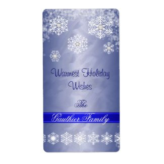 Snowflake Blue Foil Diamond Holiday Wine Label