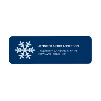 Snowflake Blue Holiday address labels