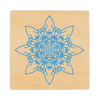 Snowflake Blue Wood Coaster