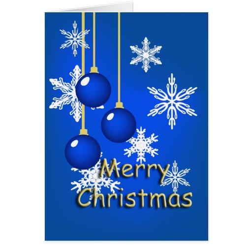 Snowflake Blue Ornaments Christmas Card