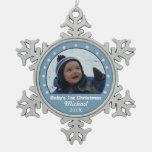 Snowflake Blue Photo Ornament