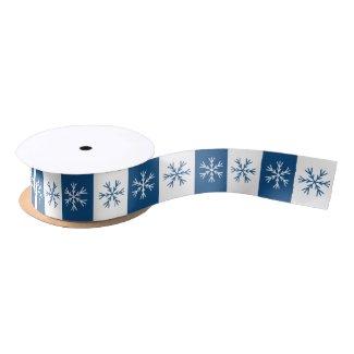 Snowflake Blue White Stripe Christmas Pattern Satin Ribbon