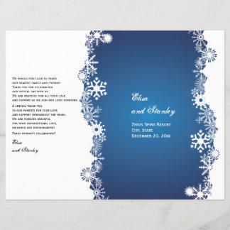 Snowflake blue white wedding folded program