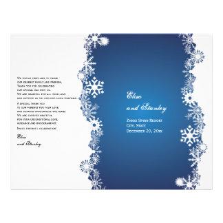 Snowflake blue white wedding folded program flyer