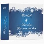 Snowflake blue white winter wedding binder