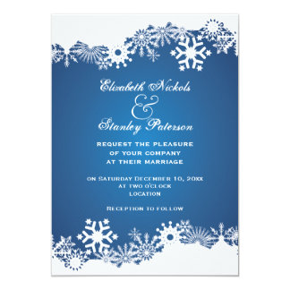 Snowflake blue white winter wedding invitation personalized announcement