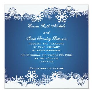 Snowflake blue white winter wedding invitation