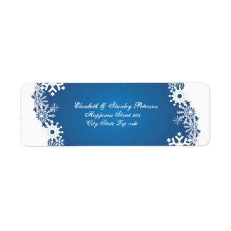 Snowflake blue white winter wedding label