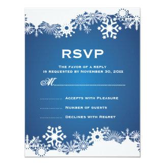 Snowflake blue white winter wedding RSVP Card