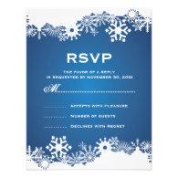 Snowflake blue white winter wedding RSVP Invitations