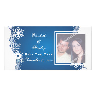 Snowflake blue white winter wedding Save the Date Card