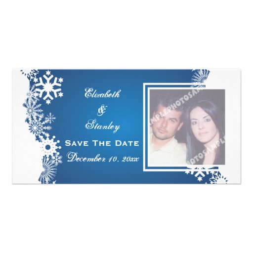 Snowflake blue white winter wedding Save the Date Photo Card Template