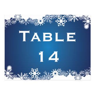 Snowflake blue white winter wedding table number postcard