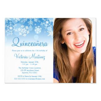 Snowflake Blue White Winter Wonderland Quinceanera Card