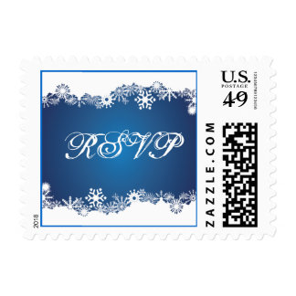 Snowflake blue winter wedding RSVP stamp