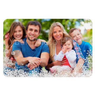 Snowflake Border Holiday Photo Magnet