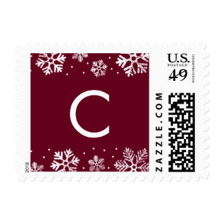 Snowflake Border Monogram Holiday Postage