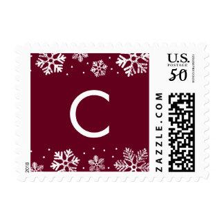 Snowflake Border Monogram Holiday Postage