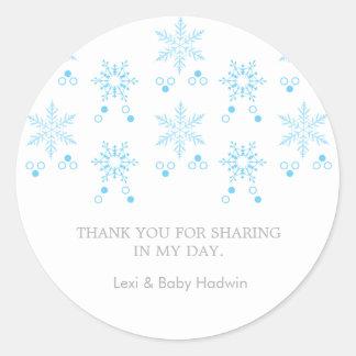 Snowflake   Boy Baby Shower Favor Sticker