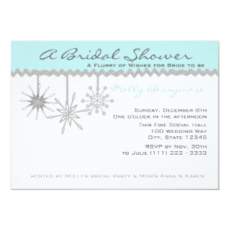 Snowflake Bridal Shower Ice Blue Card