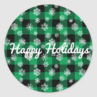 Snowflake Buffalo Plaid Green l Happy Holidays Classic Round Sticker