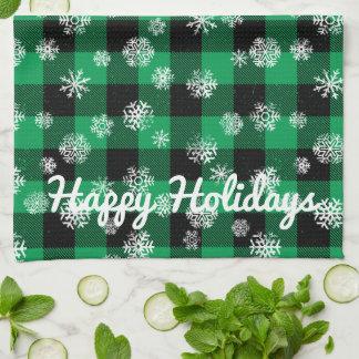 Snowflake Buffalo Plaid Green l Happy Holidays Kitchen Towel