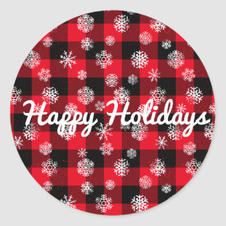 Snowflake Buffalo Plaid Red l Happy Holidays Classic Round Sticker