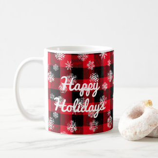 Snowflake Buffalo Plaid Red l Happy Holidays Coffee Mug
