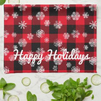 Snowflake Buffalo Plaid Red l Happy Holidays Hand Towel