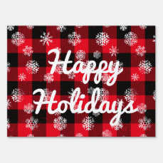 Snowflake Buffalo Plaid Red l Happy Holidays Lawn Sign