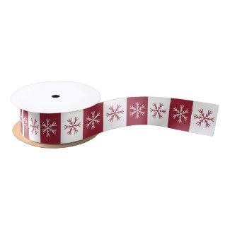 Snowflake Burgundy White Stripe Christmas Pattern Satin Ribbon