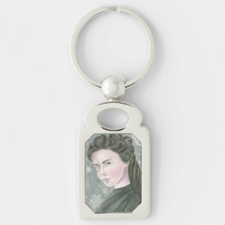 Snowflake by Deanna Bach Art Silver-Colored Rectangular Metal Keychain