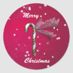 Snowflake Candy Cane Classic Round Sticker