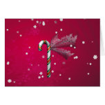 Snowflake Candy Cane Greeting Card