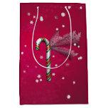 Snowflake Candy Cane Medium Gift Bag