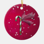 Snowflake Candy Cane Double-Sided Ceramic Round Christmas Ornament